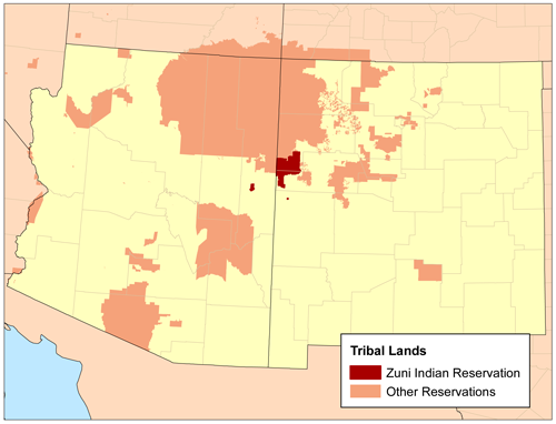 Zuni Indian Reservation Wikipedia - Map of us indian reservations
