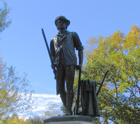 Minuteman Statue, by Daniel Chester French in Concord, Massachusetts.  Photo on Wikimedia Commons by dbking