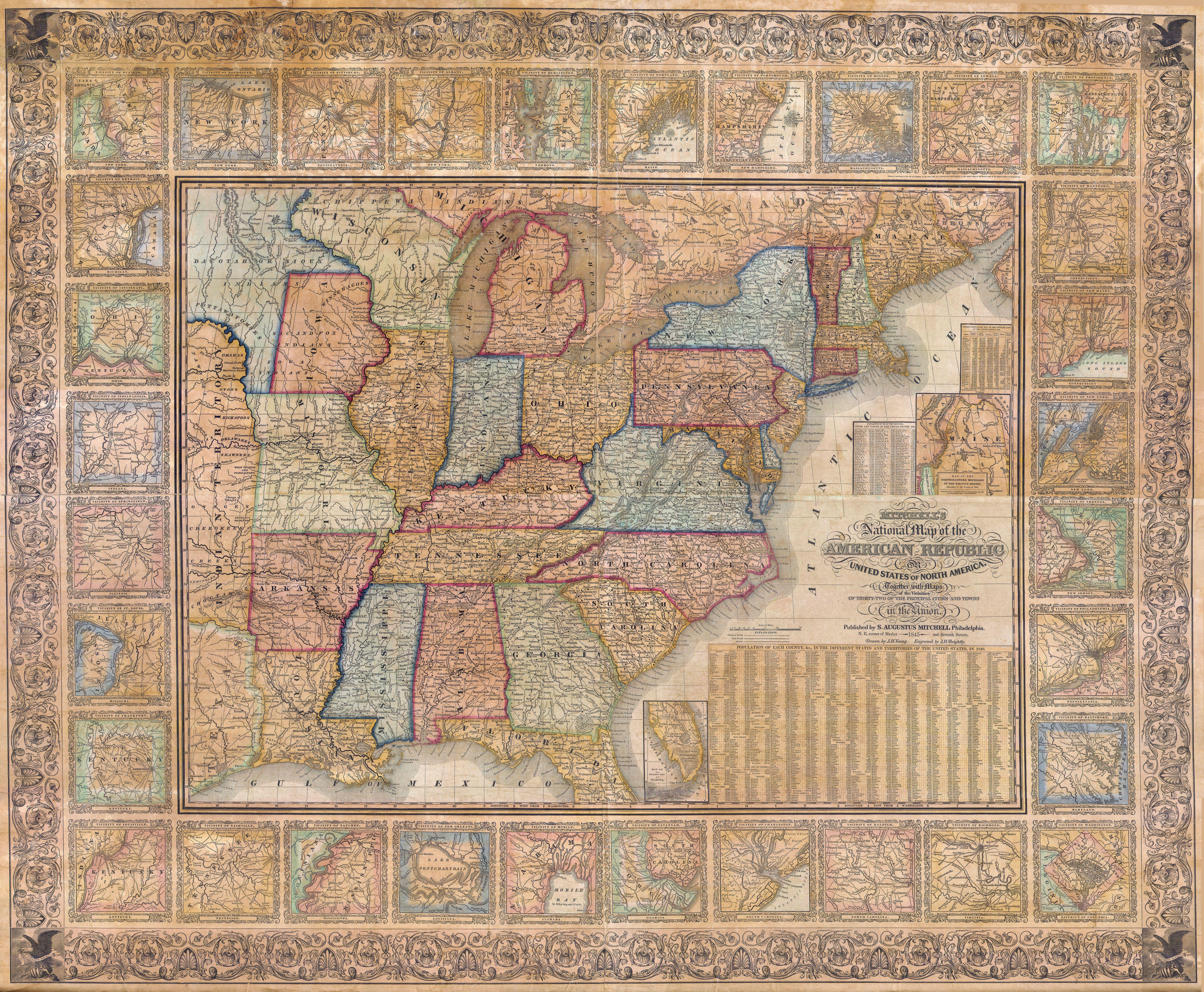 File Mitchell Wall Map Of The United States Partial Republic - North america historical map 1845