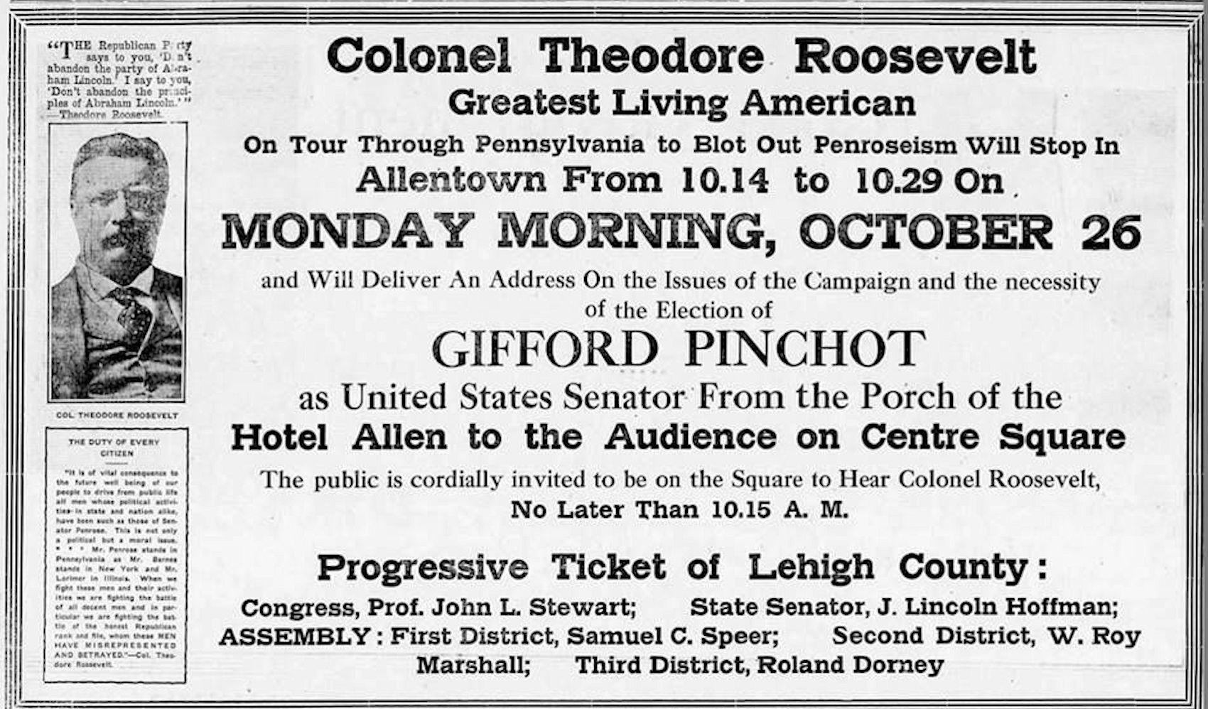 File:1914 - Thodore Roosevelt Speech - 24 Oct LDR - Allentown PA.jpg ...