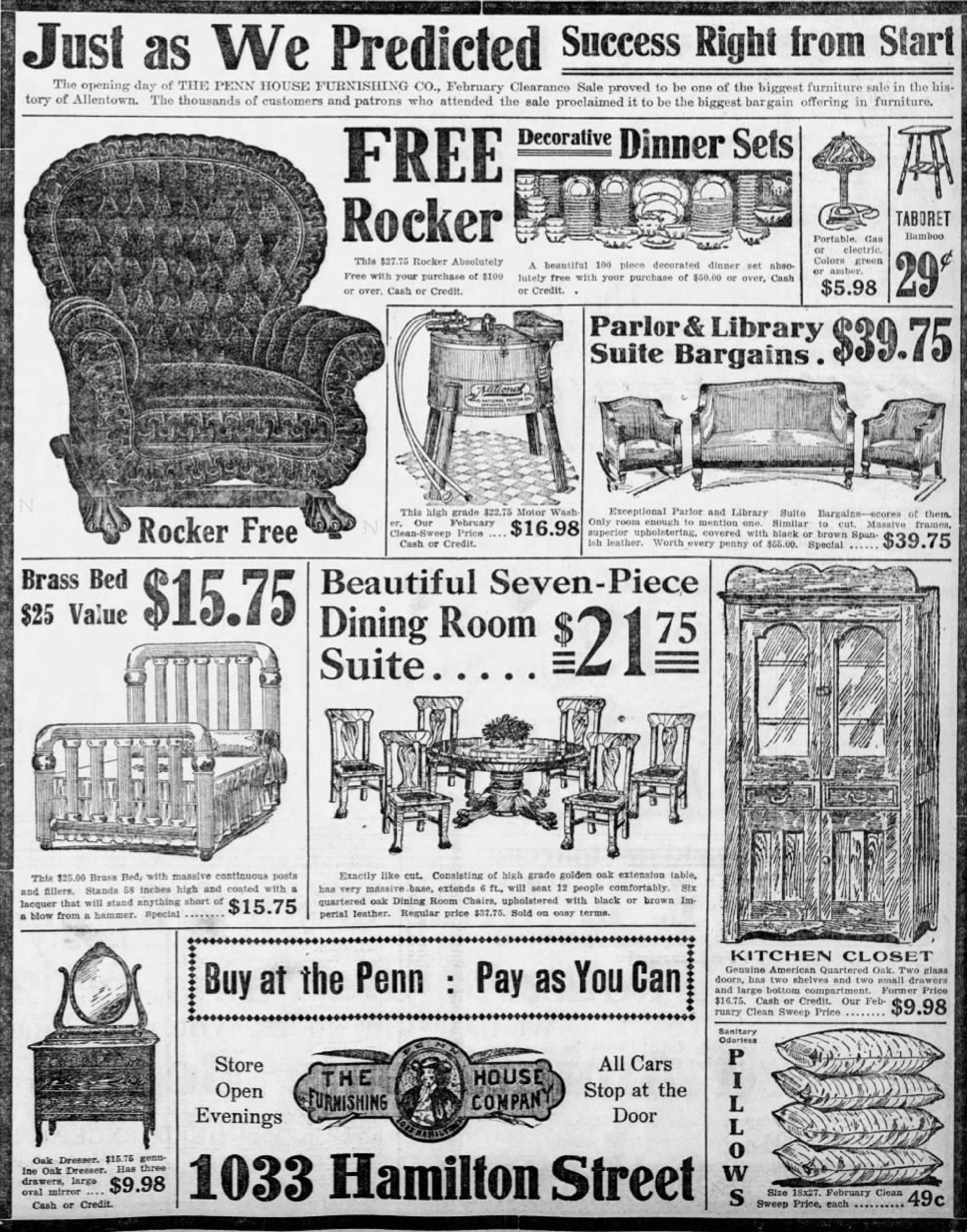 Perfect File:1917   Penn House Furniture   30 Jan MC   Allentown PA