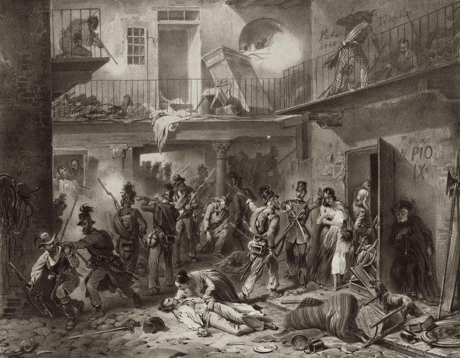 Archivo: Adam lith.  - Tirol cazadores en acción en Milán - litografía - aprox.  1850.jpg