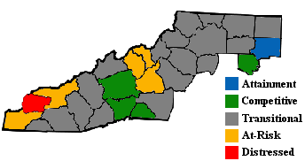 "Map showing 2001-2003 ARC economic designations for counties in ""Appalachian"" North Carolina, including most counties in Western North Carolina."
