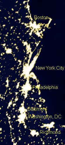 This picture shows the metropolitan areas of the Northeast Megalopolis of the United States demonstrating urban sprawl, including far-flung suburbs and exurbs illuminated at night.