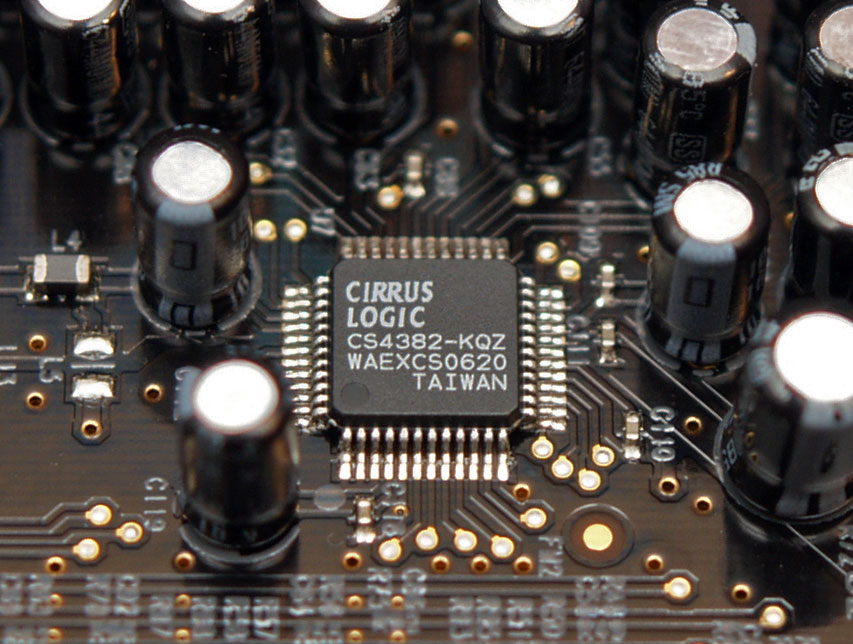 A Chip: Cirrus Logic CS4382 - 8-channel DAC from Sound Blaster X-Fi. This Photo is made by Andrzej Barabasz (Chepry) and licensed under the Creative Commons Attribution-Share Alike 3.0 Unported license.