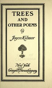 Cover of Joyce Kilmer's 1914 poetry collection Trees and Other Poems
