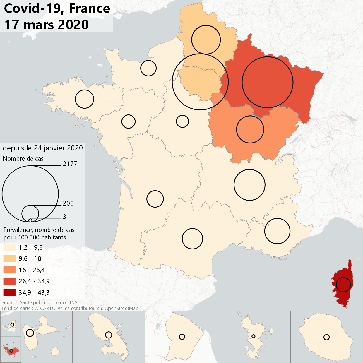 English Number of cases and prevalence of Covid-19 in France, by region, 17th of March, 2020