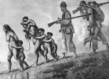 Prent van indiaanse slaven
