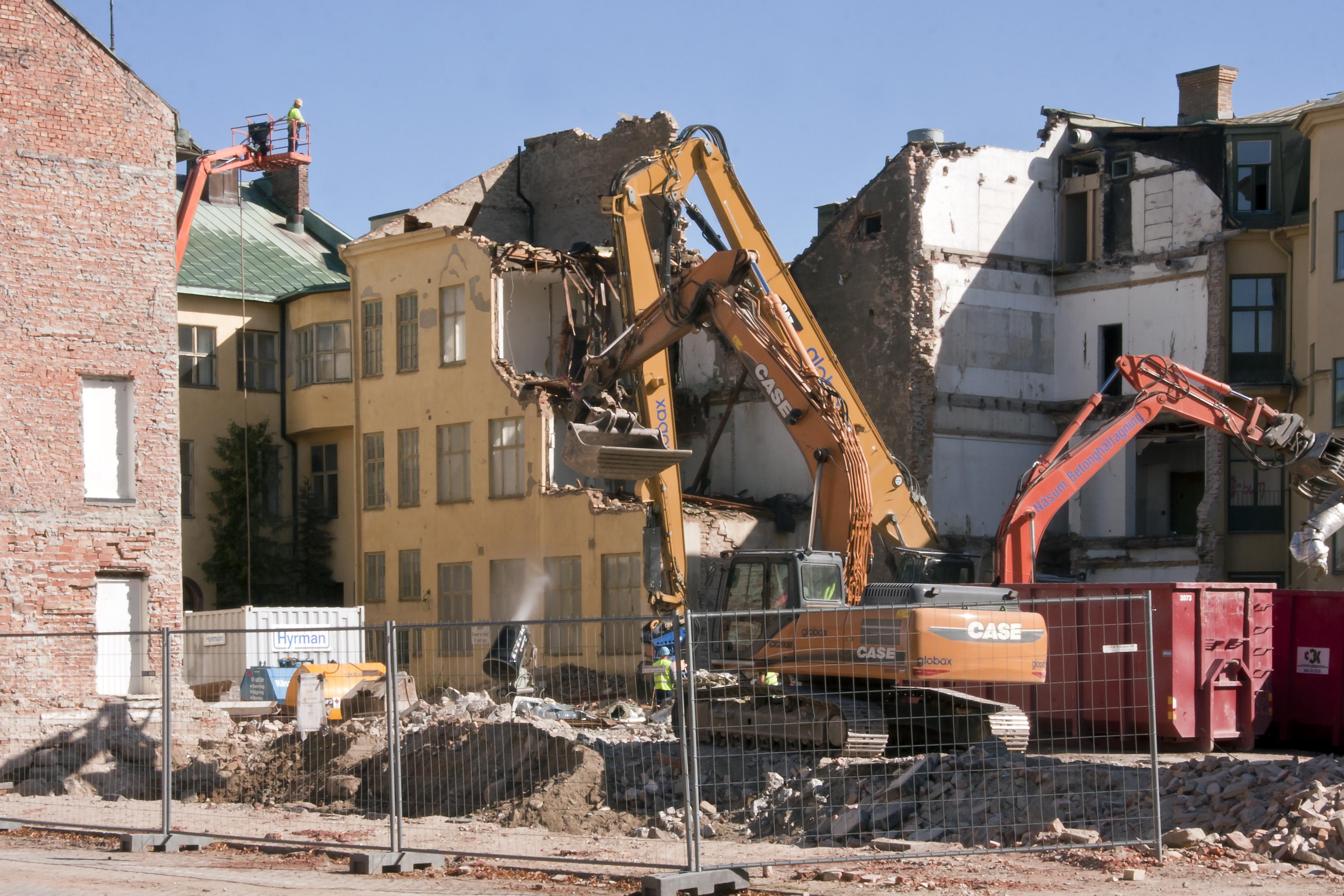 File Demolition Work In Kristianstad Jpg Wikimedia Commons