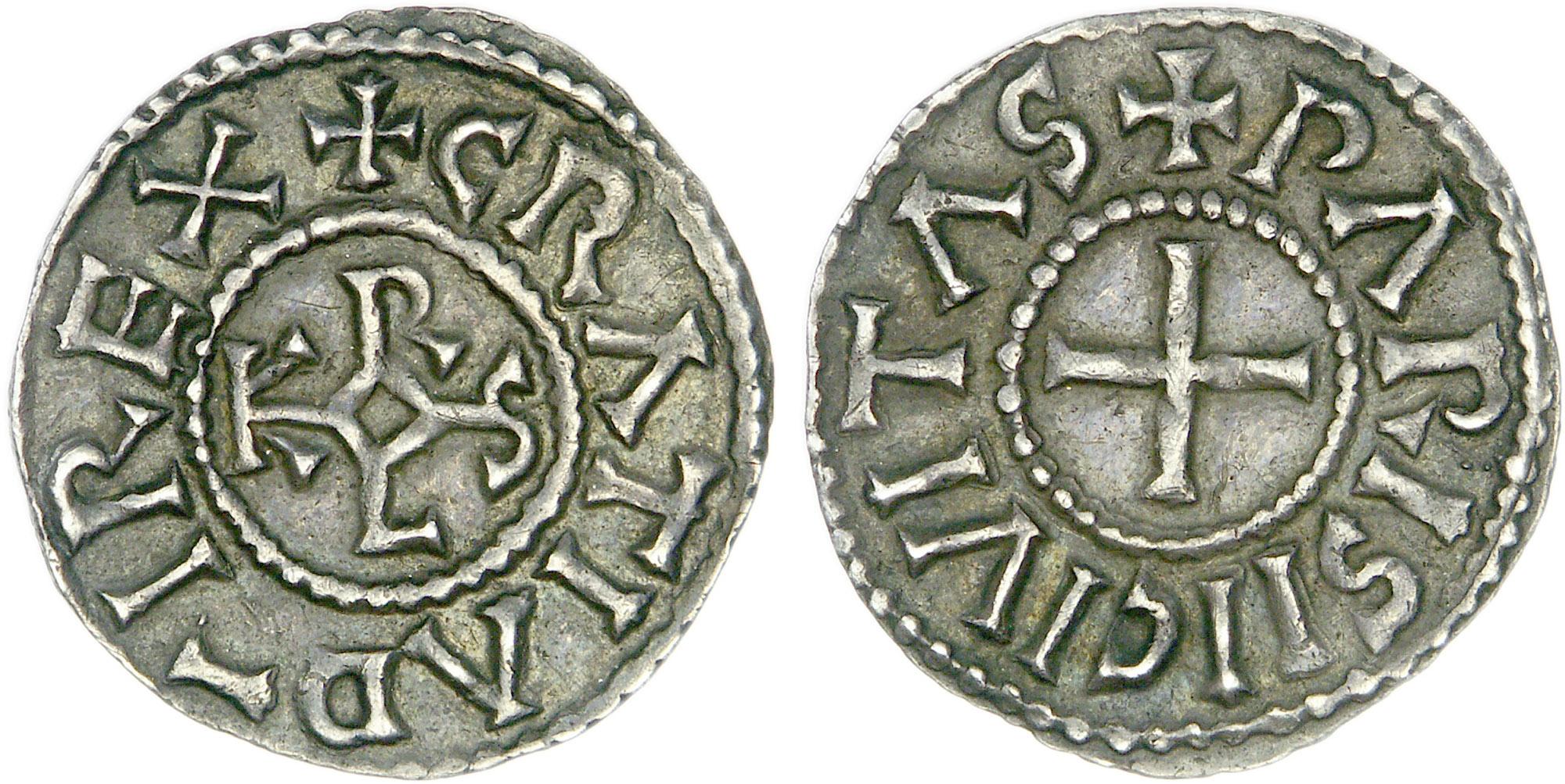 Münze, die dem westfränkischen König Karl II. dem Kahlen (843-877) zugeschrieben wird