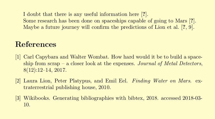 The bibliography is finished, but the text still shows question marks. LaTeX gives a hint: Warning: Label(s) may have changed. Rerun to get cross-references right.