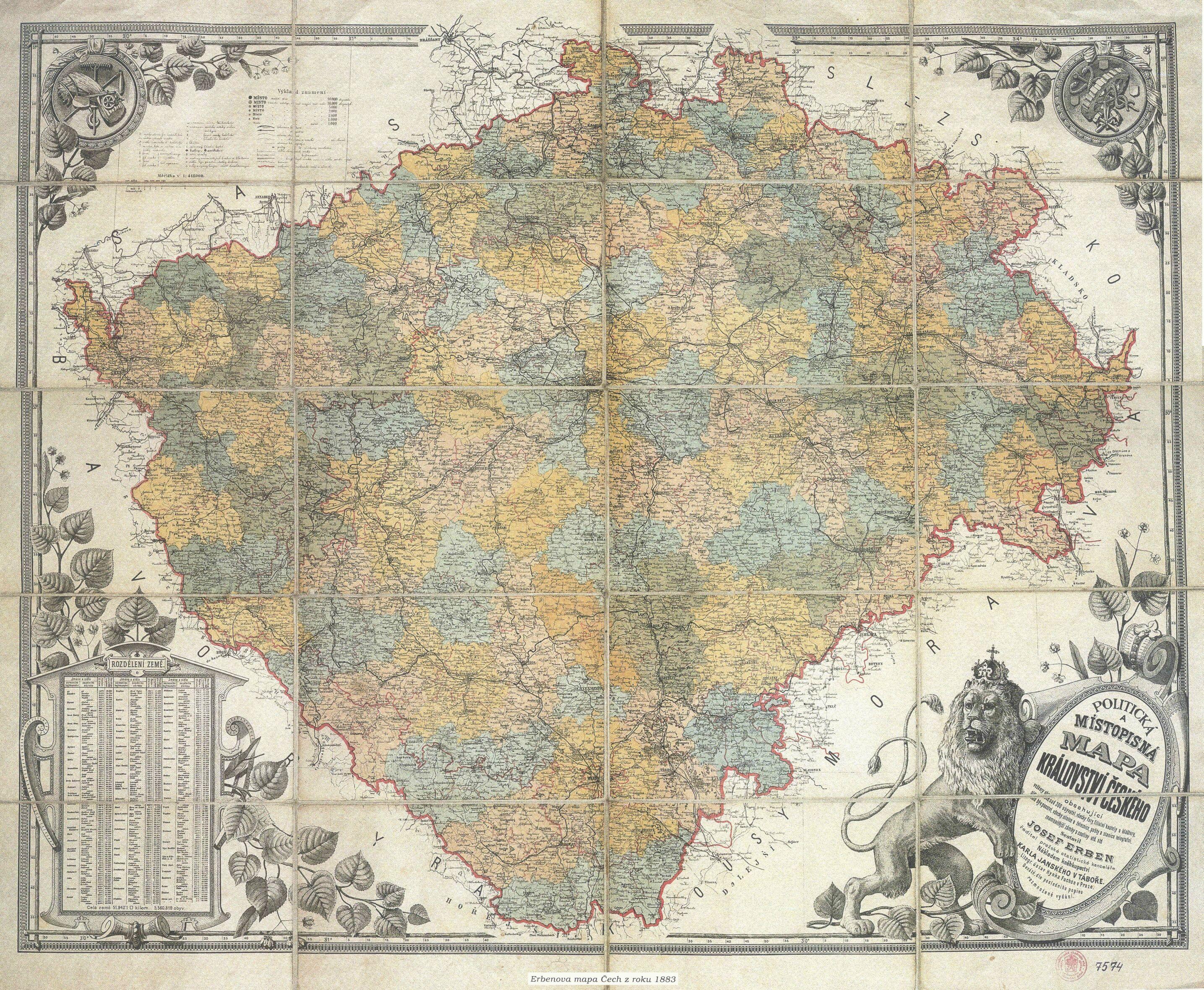 File Erbenova Mapa Cech 1883 Jpg Wikimedia Commons
