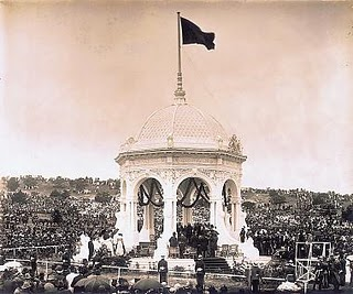 Federation Pavilion in Sydney on 1 January 1901: the lieutenant governor and chief justice of New South Wales administered the oath of office to the first governor-general of the new commonwealth. Federation Pavillion.jpg