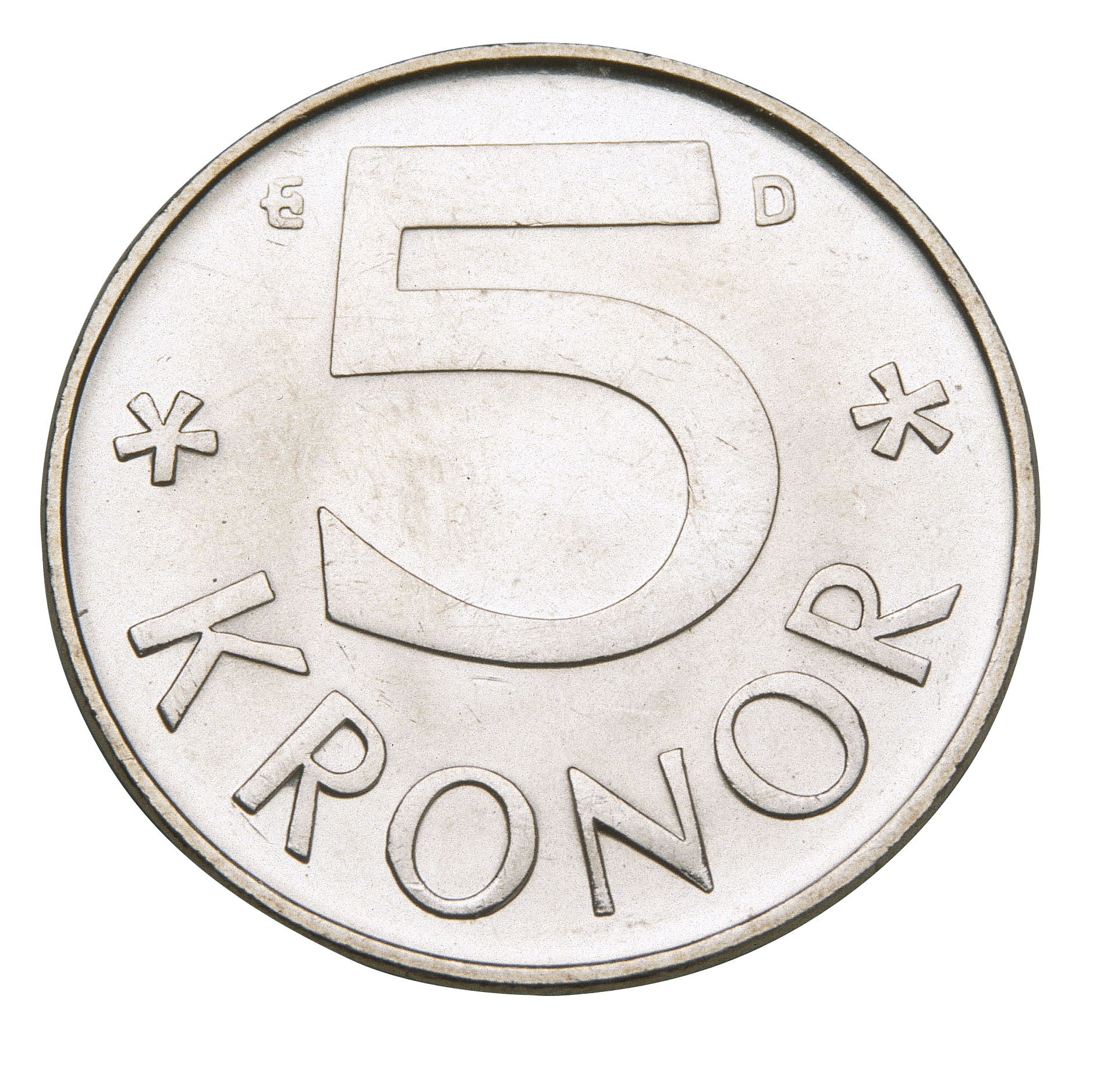 Swedish five crown coin