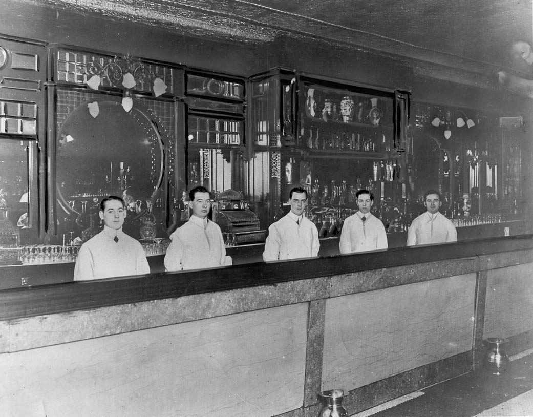 File Five Bartenders Behind St Charles Hotel Bar Jpg
