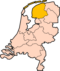 Map: Province of Friesland in the Netherlands