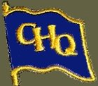 "A waving blue flag with a yellow border, and the letters ""GHQ"" in yellow."