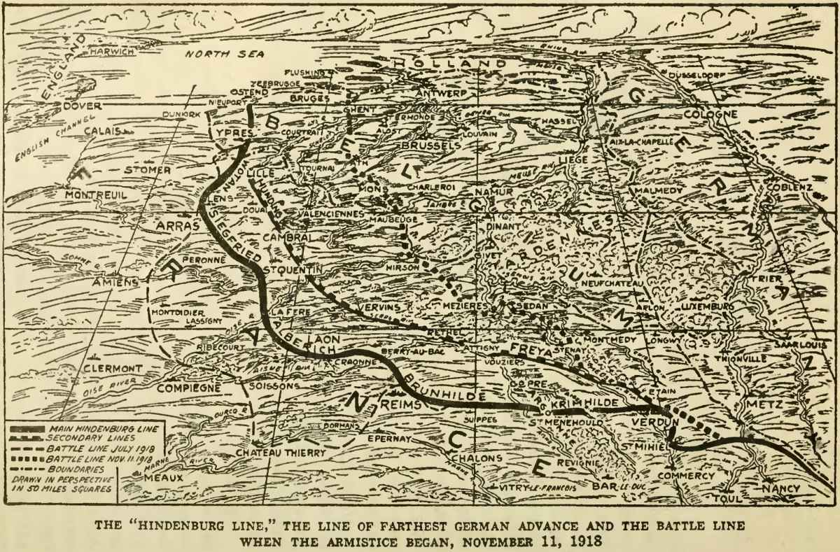 Perspective map showing Hindenburg Line main & secondary lines, and extent of Allied advances at 11 November 1918