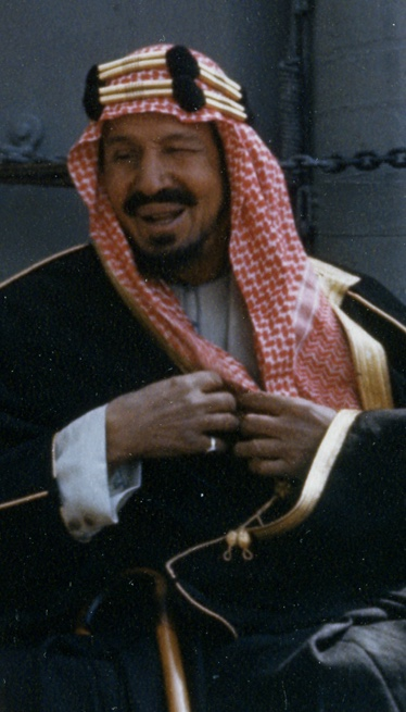 King Ibn Saud, of Saudi Arabia, on board USS Q...