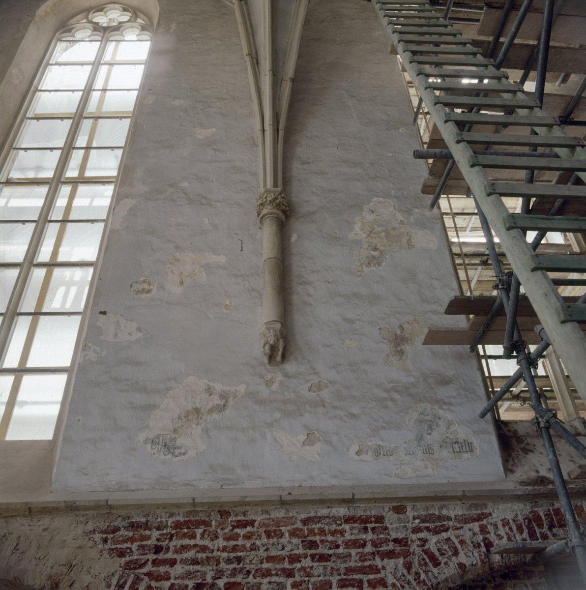 Bestand interieur muur met restanten van schilderingen tijdens restauratie eibergen - Interieur muur ...