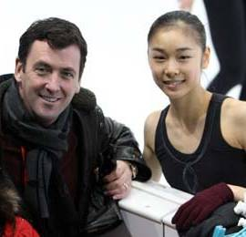 Kim Yu-Na and coach Brian Orser at the 2007-20...