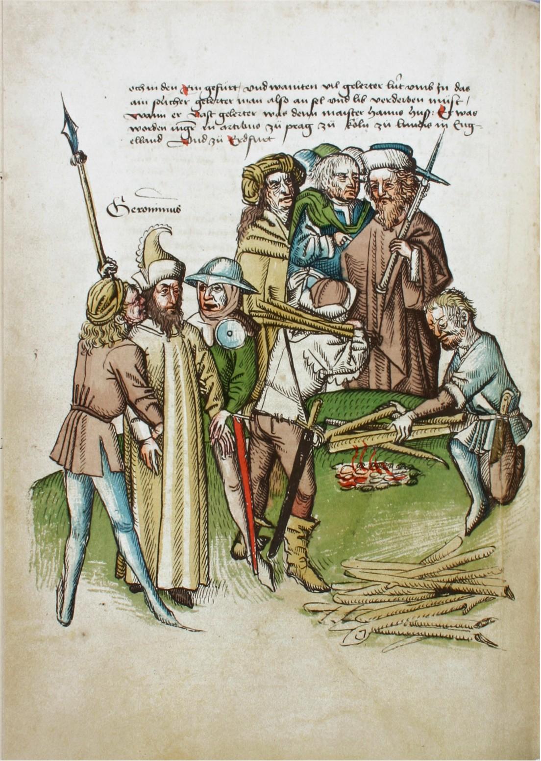 Hieronymus von Prag wiird zum Scheiterhaufen geführt. Richenthal-Chronik, Rosgartenmuseum Konstanz, Hs. 1, fol. 59v.