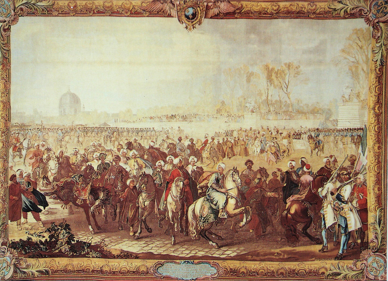 File:La sortie de l Ambassadeur Turc du Jardin des Tuileries Gobelins 1734  1737.