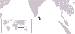 Location of Sri Lanka, a small island nation, in the Indian Ocean LocationSriLanka.png