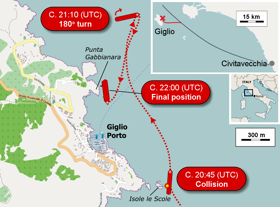 Location of Costa Concordia cruise-ship disaster (13-1-2012).png