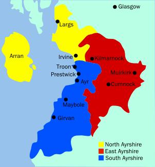 Administrative subdivisions covering Ayrshire