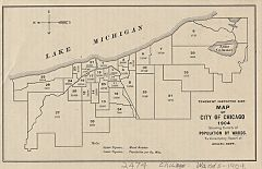Map of city of Chicago ward system in 1904. Wards with lower populations have larger boundaries. External link: current map of Chicago wards