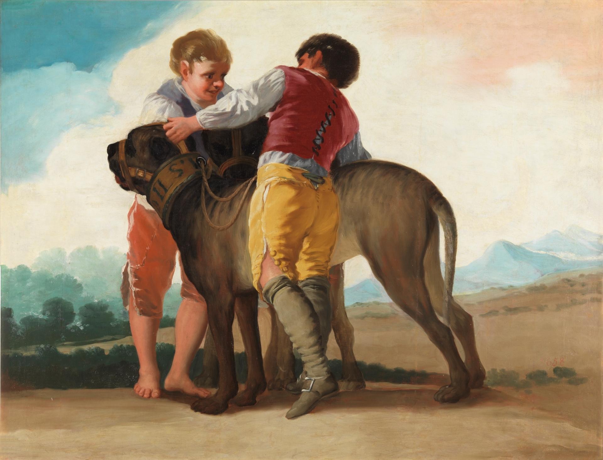 Niños con mastines es un lienzo de Francisco de Goya