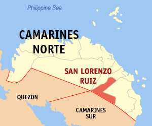 Map of Camarines Norte showing the location of San Lorenzo Ruiz