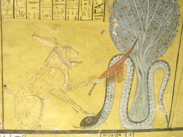 Ra slays Apep (tomb scene in Deir el-Medina)