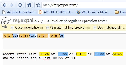 Testing the regular expression in regexpal
