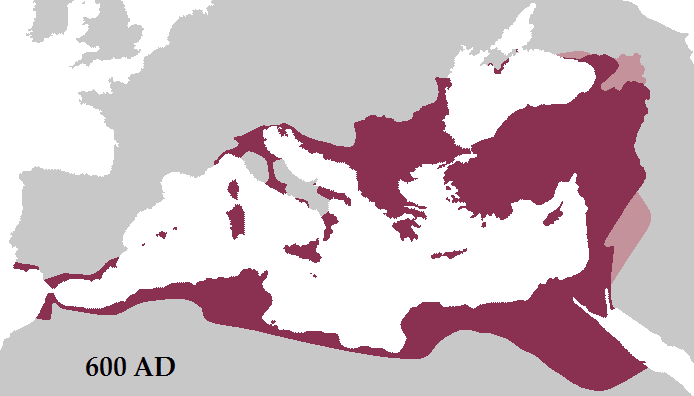 Carte de l'Empire byzantin en 600