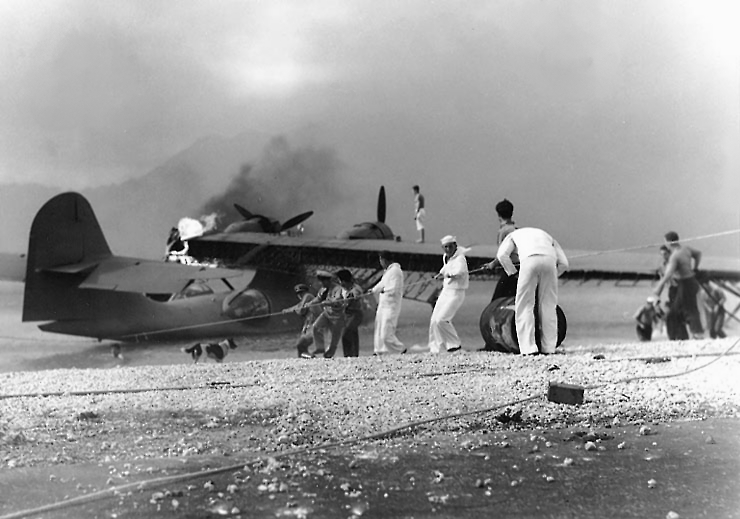 Sailors trying to save PBY at NAS Kaneohe Bay 1941