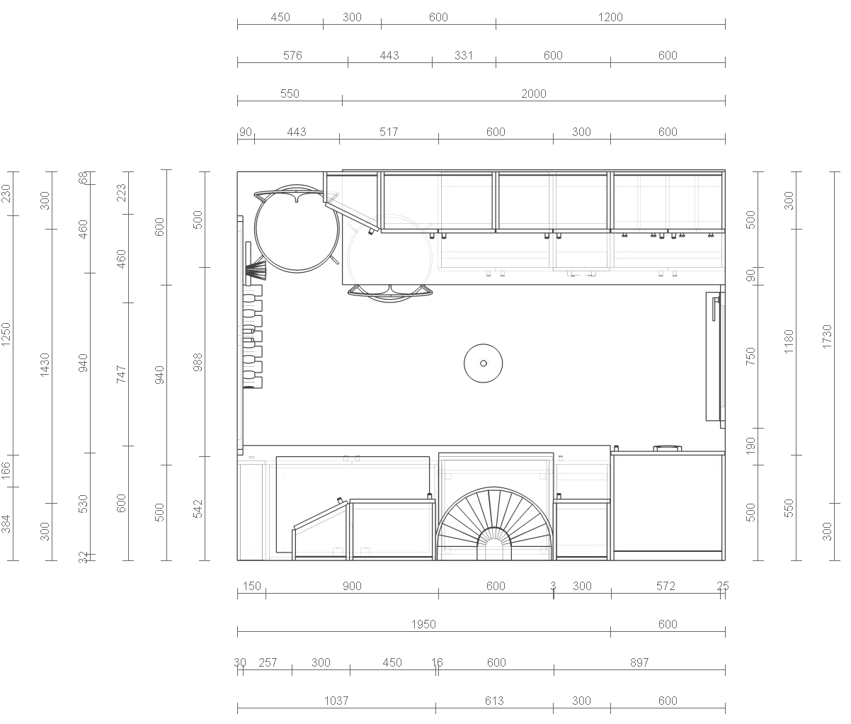 Rysunek architektoniczno budowlany wikipedia wolna for Coffee shop floor plan with dimensions