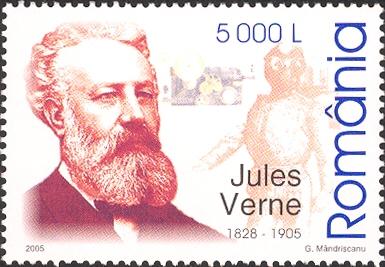 Почтовая марка Румынии 2005 года посвящена Жюлю Верну