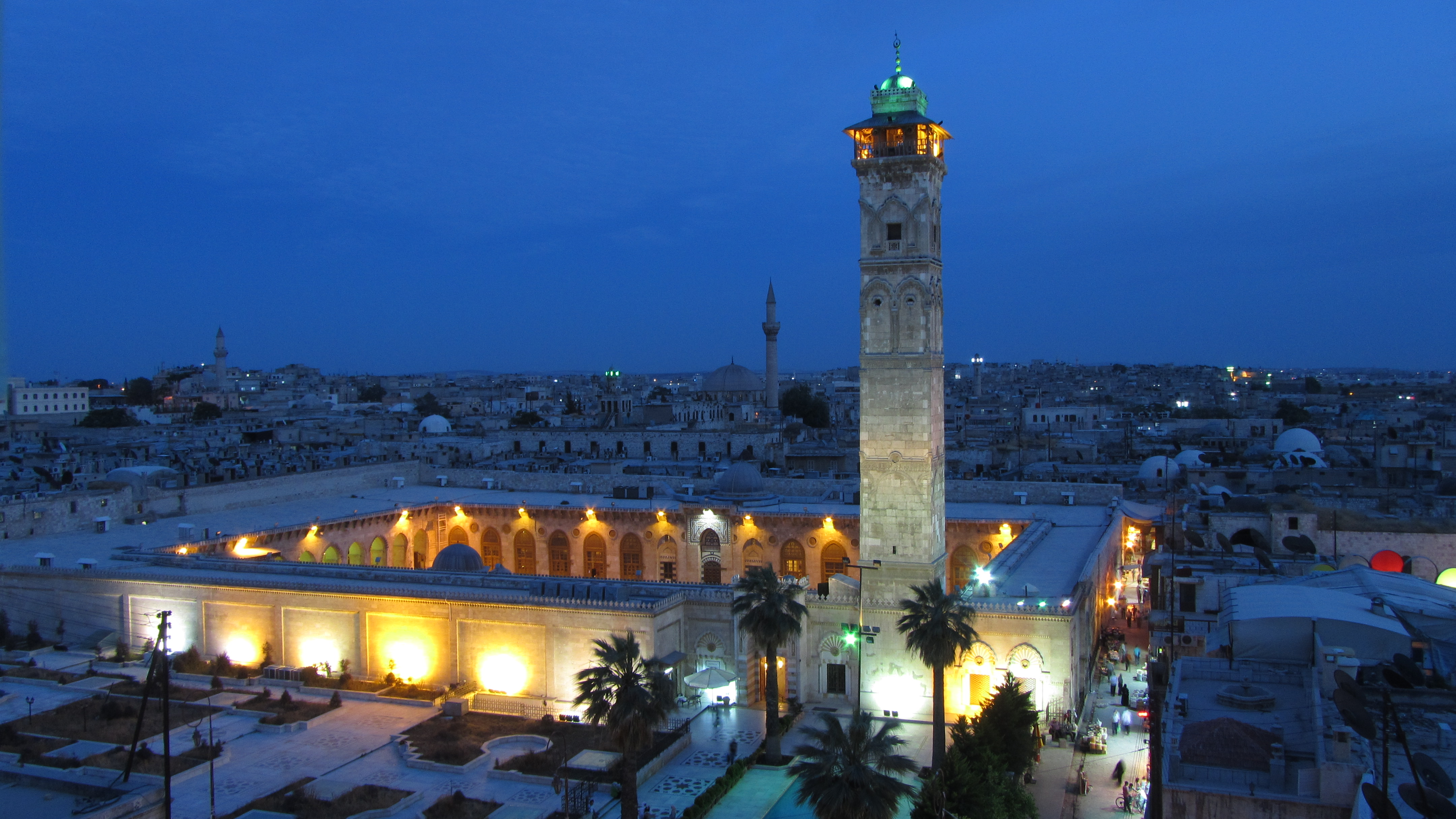 File:The great Umayyad mosque in Aleppo at night JPG