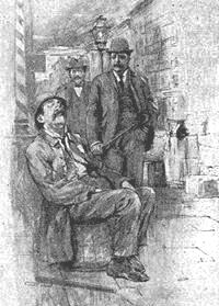 NYC Police Commissioner Roosevelt walks the beat with journalist Jacob Riis in 1894—Illustration from Riis's autobiography. Tr - nyc police commissioner 1894 - jacob riis bio - the making of an american - illustration named one was sitting asleep on a buttertub crop.jpg
