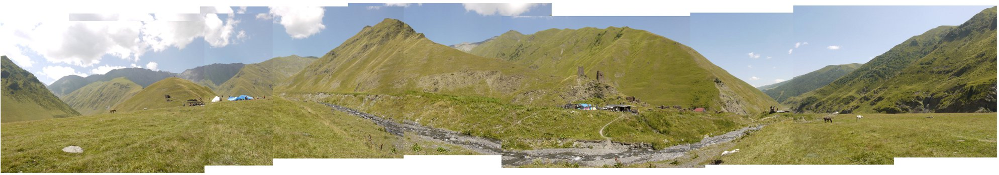 A panorama of Tsovata in the mountainous eastern Georgian region of Tusheti. The photograph was taken during the Bats people's annual summer festival (dadaloba) in 2010.