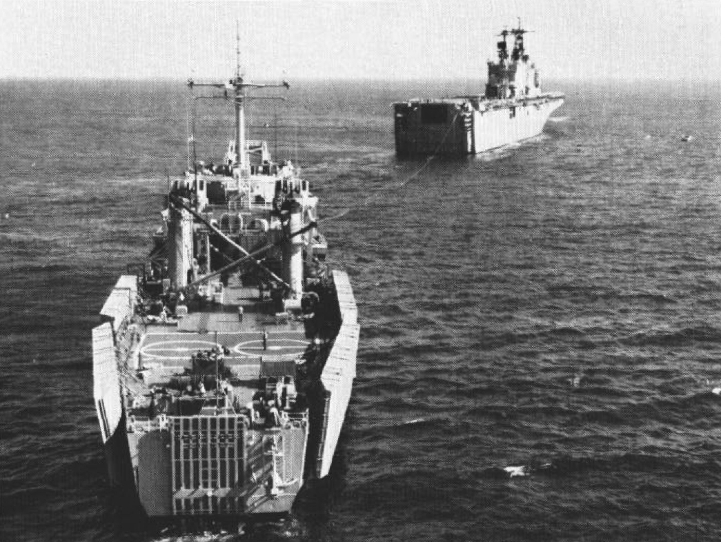 File:USS Saipan (LHA-2) tows USS Barnstable County (LST-