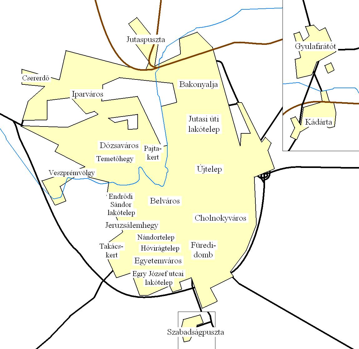 Veszprém, városrészek