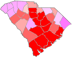1870 South Carolina gubernatorial election map, by percentile by county.   65+% won by Scott   60%-64% won by Scott   55%-59% won by Scott   50%-54% won by Scott   50%-54% won by Carpenter   55%-59% won by Carpenter   60%-64% won by Carpenter