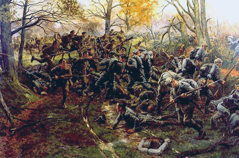 File:2nd Ox & Bucks, Nonne Bosschen, defeating the Prussian Guard 1914 by W.B. Wollen.jpeg