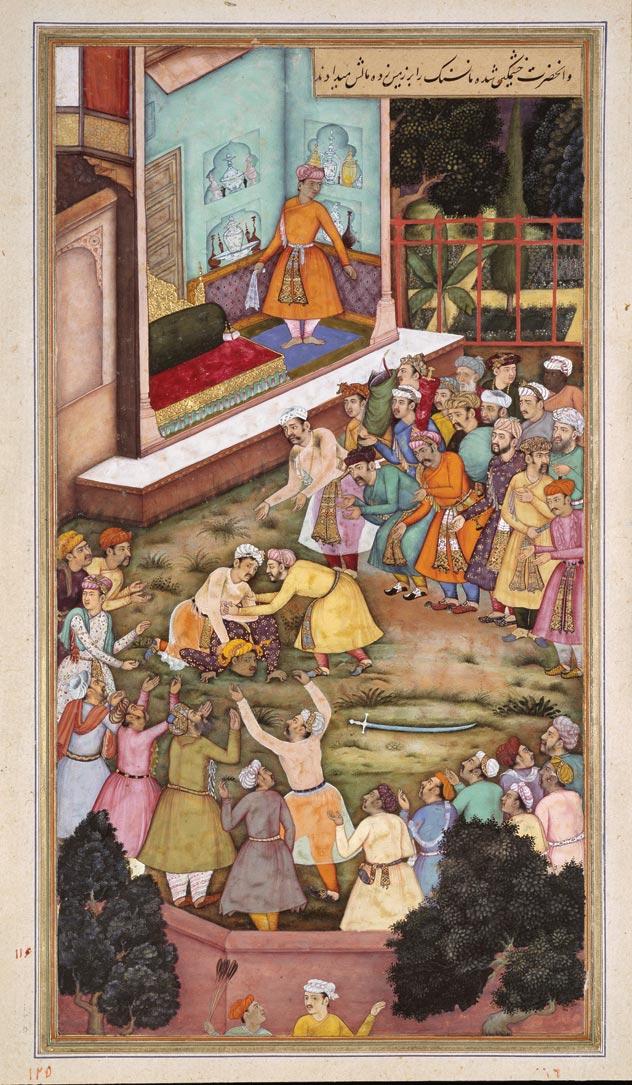 Mughal courtier Kuar Man Singh wrestles Akbar, Miniature