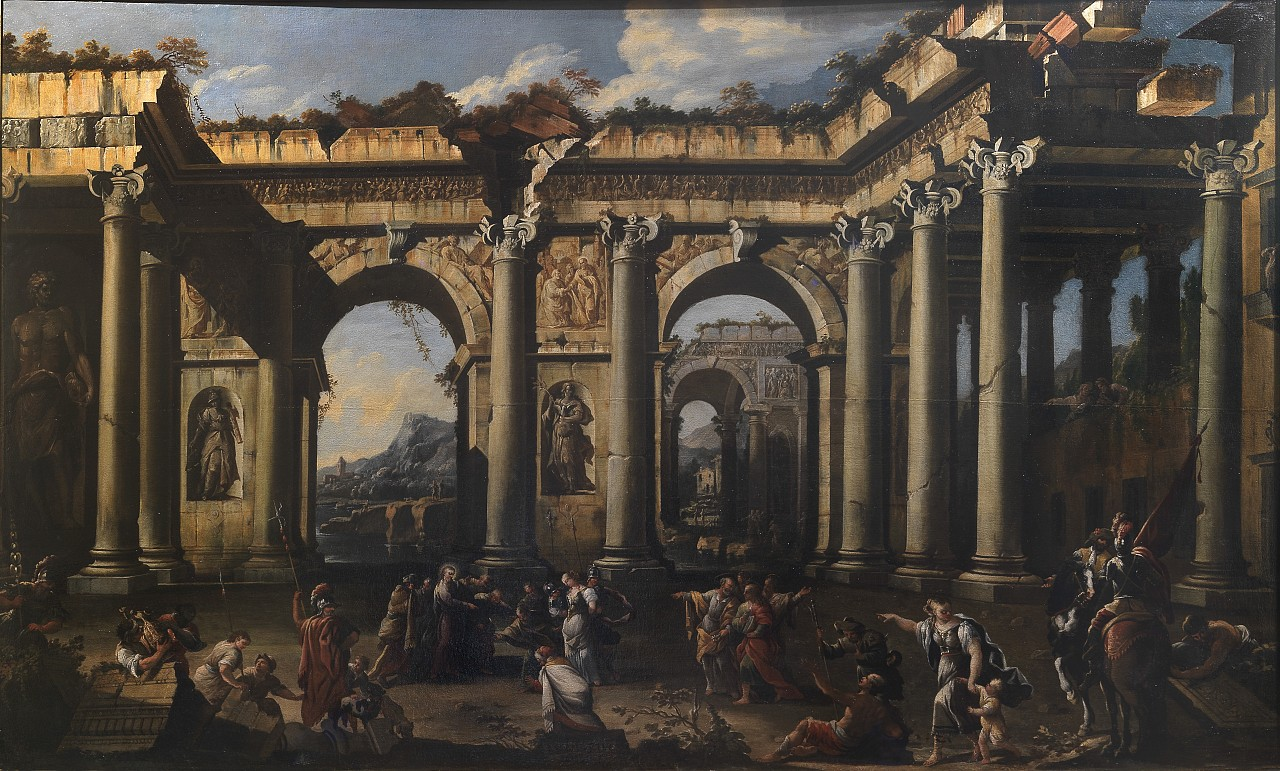 Ruins in art: Ascanio Luciano, Christ and the Adulteress,