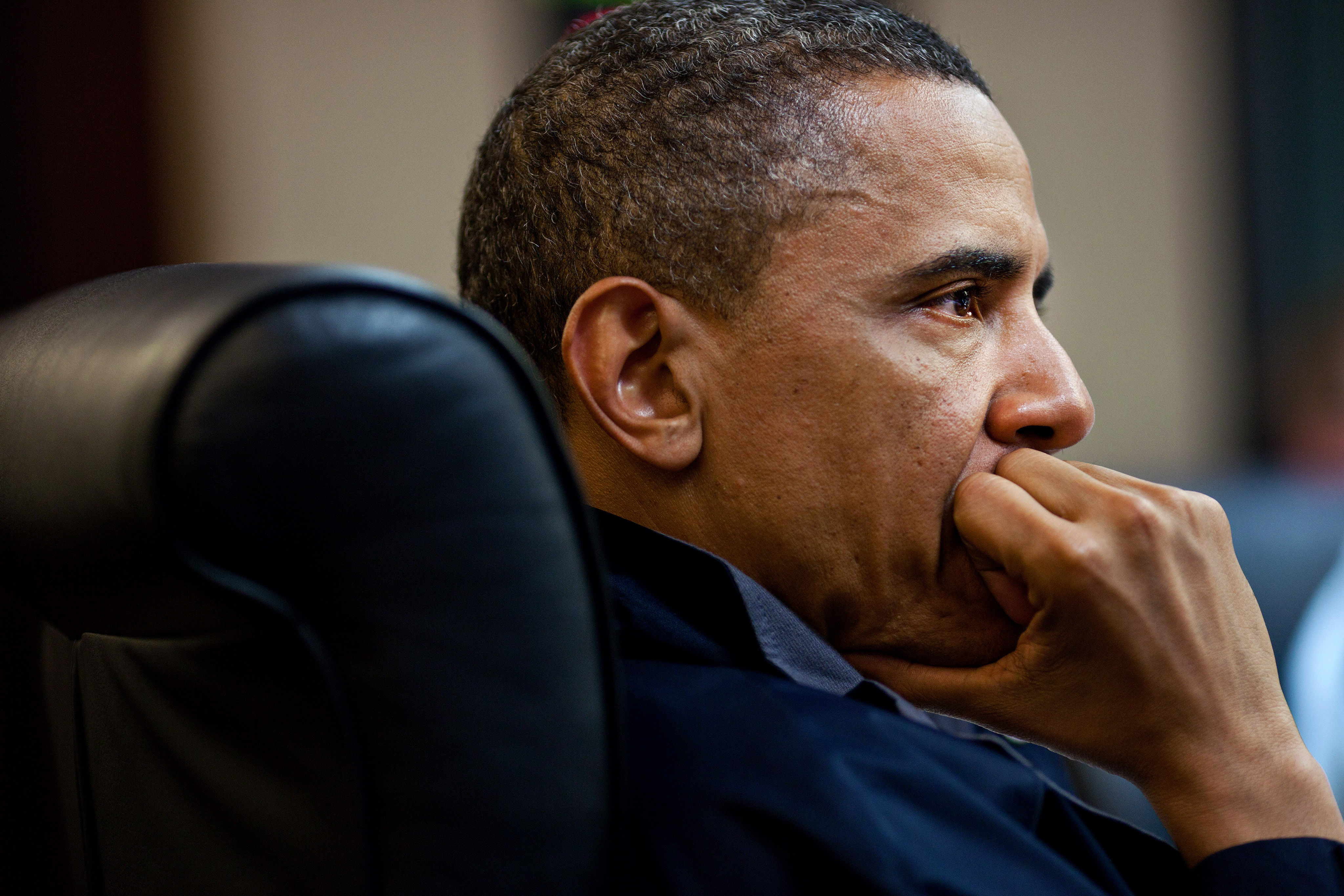 President Obama looking tense and pensive