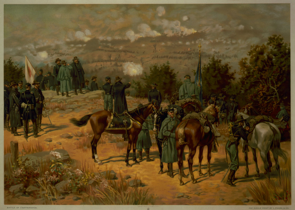 Battle of Chattanooga by Thure de Thulstrup. Ulysses S. Grant uses a field glass to follow the Union assault on Missionary Ridge. Grant is joined by Generals Gordon Granger (left) and George H. Thomas.
